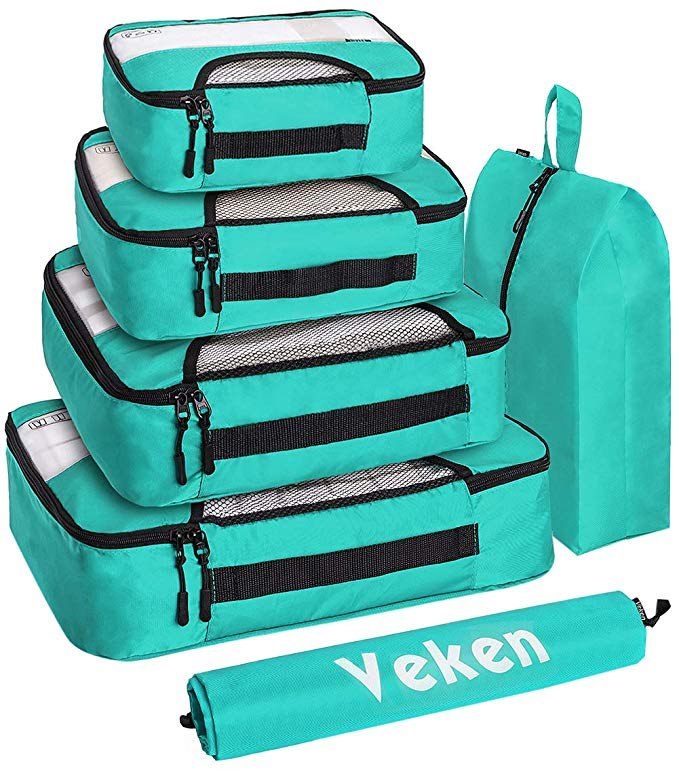Veken 6 Set Packing Cubes, Travel Luggage Organizers with Laundry Bag and Shoe Bag (Teal)